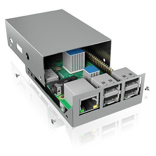 ICY Box Schutzgehäuse für Raspberry Pi® 2 und 3, silber, IB-RP104,