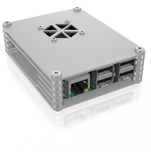 ICY Box Schutzgehäuse für Raspberry Pi® 2 und 3, silber, IB-RP107,
