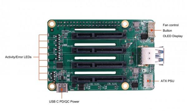 Raspberry 4 SATA HAT Quad NAS Platine für Netzwerkspeicher