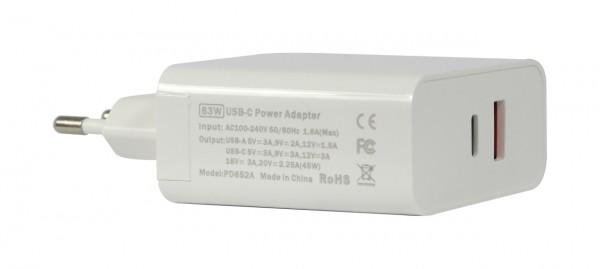ALLNET Ersatznetzteil QC USB-C PD Netzteil Power Supply63Watt 1x USB Typ-A, 1x USB Typ-C**EU PLUG**