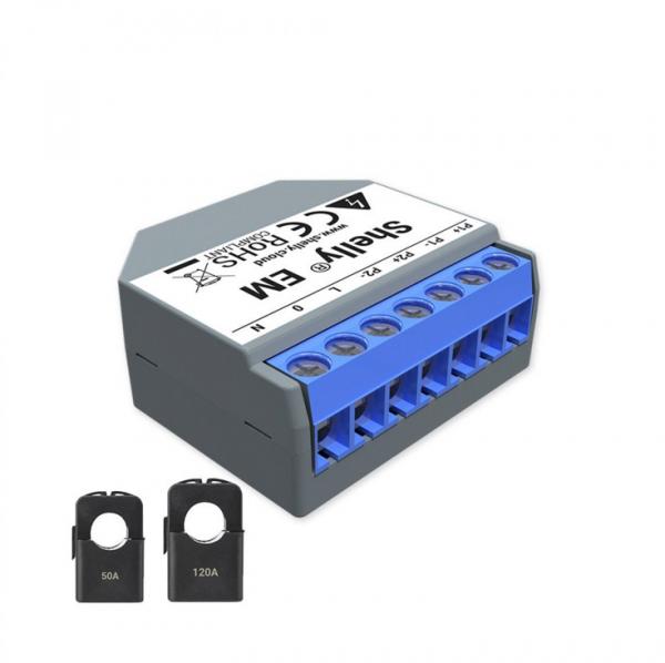 Shelly Messaktor EM (single Phase) inkl. 1 x 50 A, 1 x 120 A Klemme