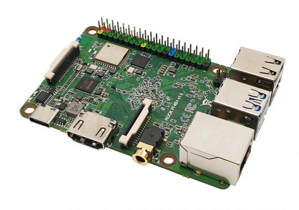 Rock Pi 4 Model B OP1 4GB/64GB (mit Dualband 2,4/5GHz WLAN/Bluetooth 5.0) mit UFL Anschluss