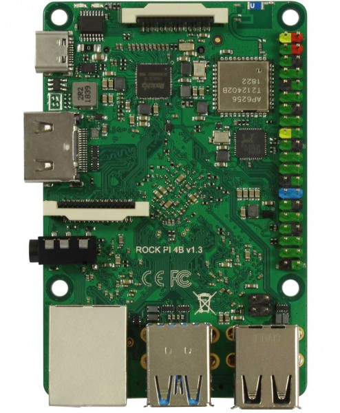 Rock Pi 4 Model B 4GB (mit Dualband 2,4/5GHz WLAN/Bluetooth 5.0)