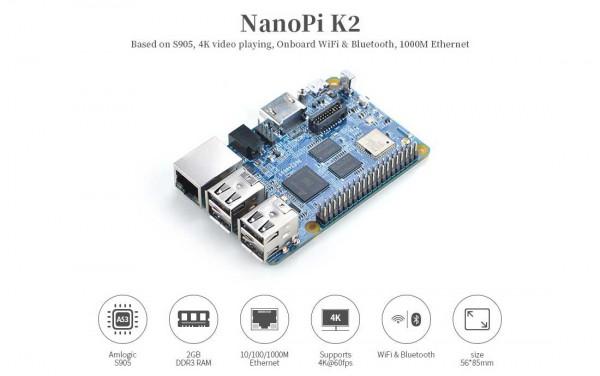 FriendlyELEC NanoPi K2 - 64bit Amlogic S905 Penta Core 2GB Wifi Bluetooth HDMI 2.0