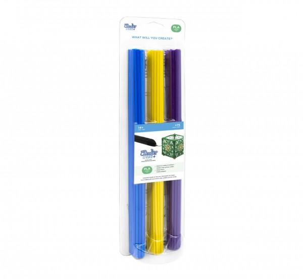 "3Doodler Create+ Filament | 75 | PLA | violett, gelb, blau | ""Tropic Mix"""